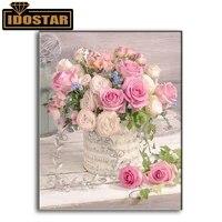 Peinture diamant theme  Rose Rose   broderie complete 5D  perles rondes ou carrees  points de croix  fleurs  a faire soi-meme  strass  mosaique  decoration dinterieur  cadeaux