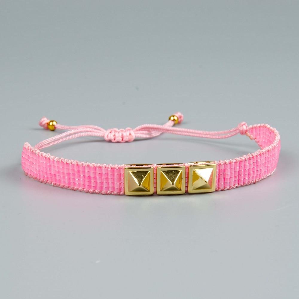Rttooas MIYUKI Bracelet Women Turkish Evil Eye Jewelry Pink Crystal Pulsera Bracelets Bileklik Handmade Gift Gold Rivet Bijoux