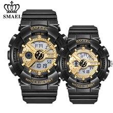SMAEL mode Couple sport montre hommes femmes lumineux étanche numérique montres à Quartz hommes Auto Date noir or montres-bracelets