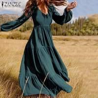 Платье ZANZEA женское с оборками, Повседневная Туника с пышными рукавами, Однотонный сарафан, осень 2021