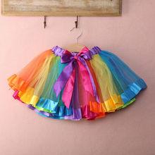 Crianças do bebê crianças artesanal menina arco-íris colorido tutu saia tule criança infantil mini saias verão algodão roupas das meninas