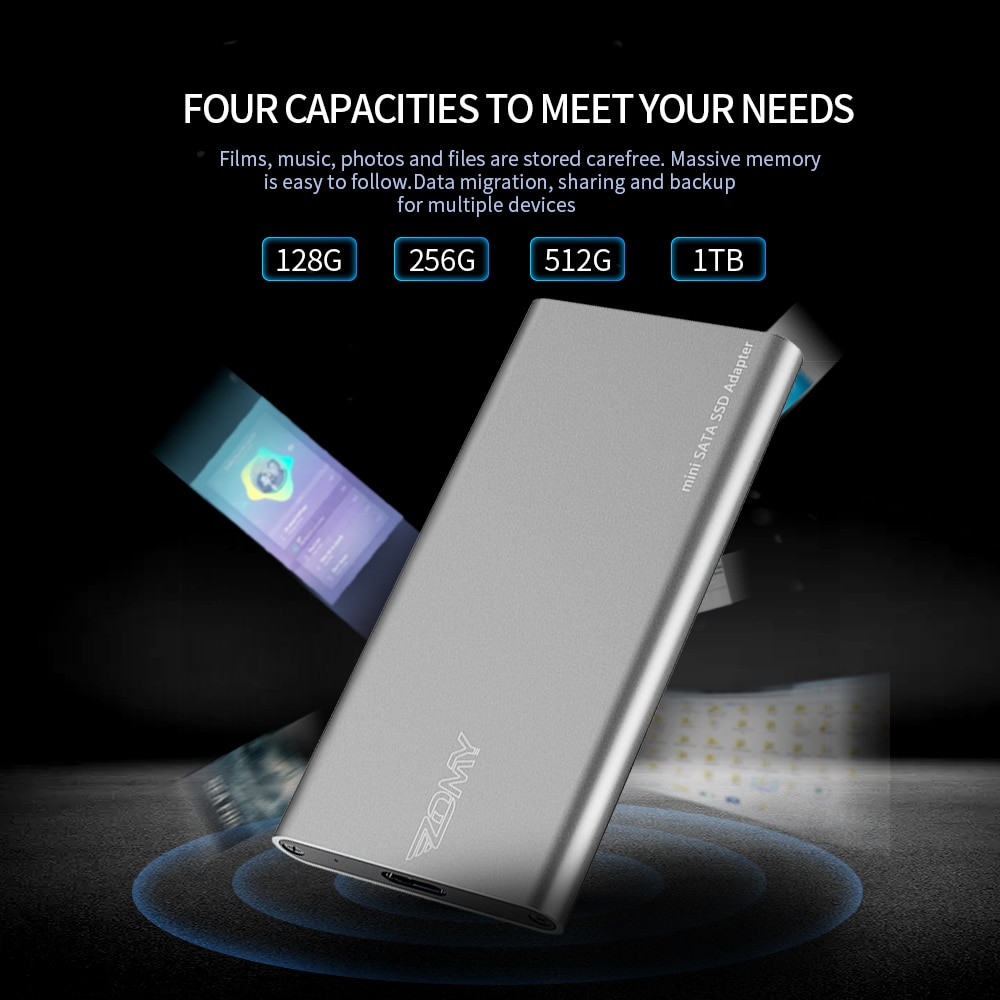 ZOMY mSATA To USB 3.1 External Solid State Drives Aluminum 10Gbps SSD 1tb Portable Hard Drives 128G 256G Type-c for Laptops