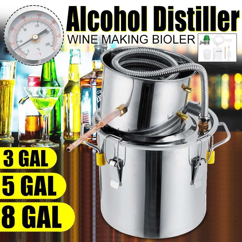 Destilador 3GAL/5GAL/8GAL, Alcohol de Alambic Moonshine, aún de cobre inoxidable, destilación de agua casera, Kit de elaboración de aceite de vino esencial