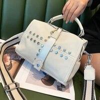 split leather handbags for women rivet white shoulder bag boston ita luxury designer sac femme top handle tote bolsa feminina