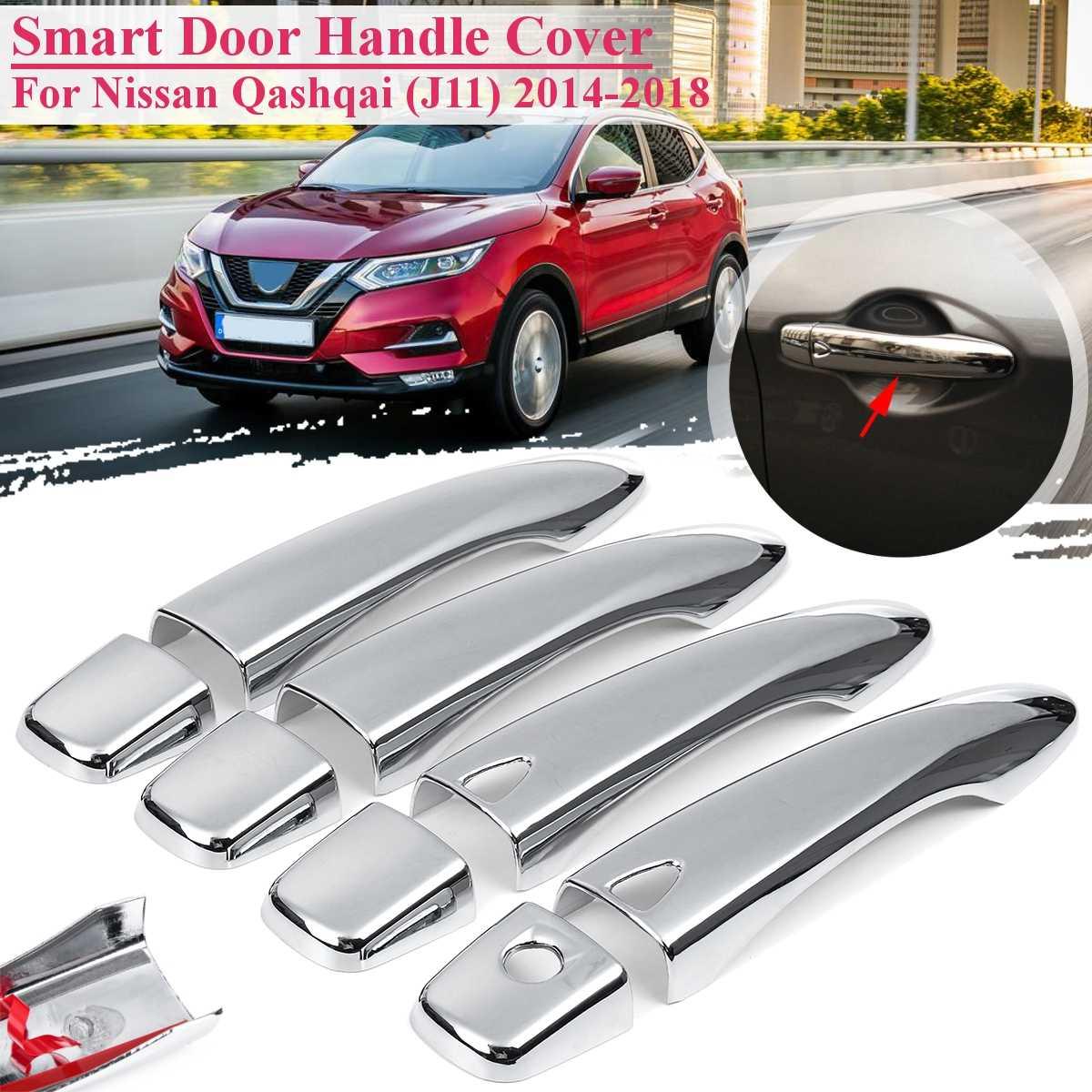 Manija de puerta Exterior cromada para coche 8 Uds. Para Nissan Qashqai (J11) 2014-2018 con cubierta de entrada sin llave pegatina funda de decoración