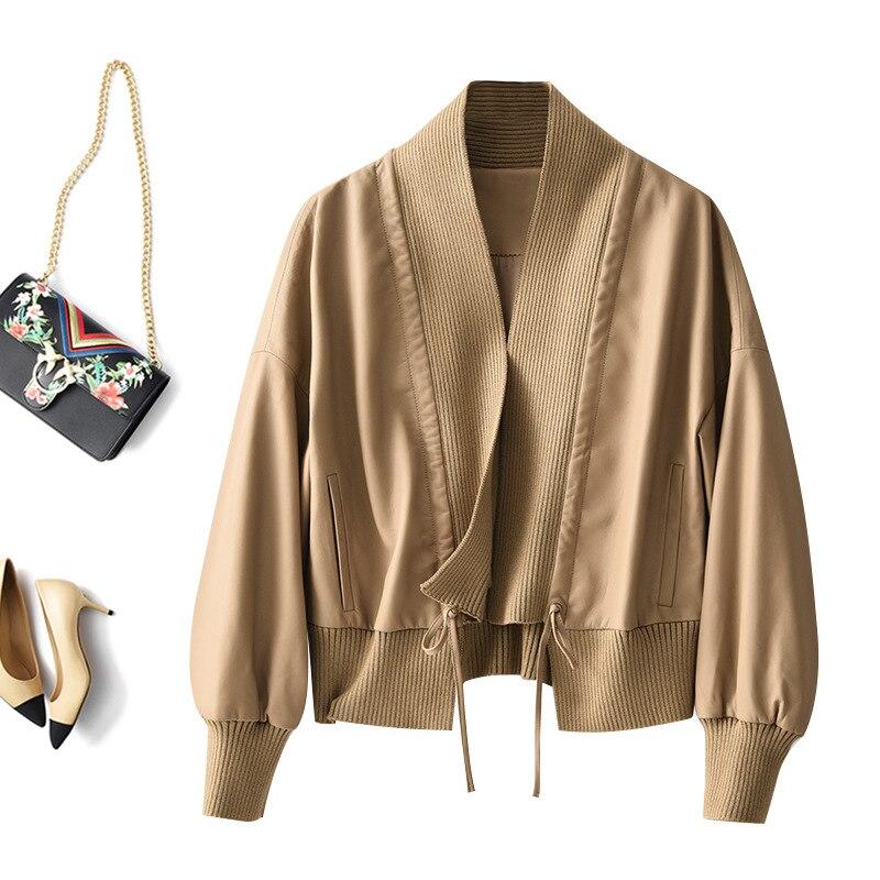 SHUCHAN Genuine Leather Jacket  High Street Sheepskin Spring/Autumn V-Neck Short Style Quality 2021