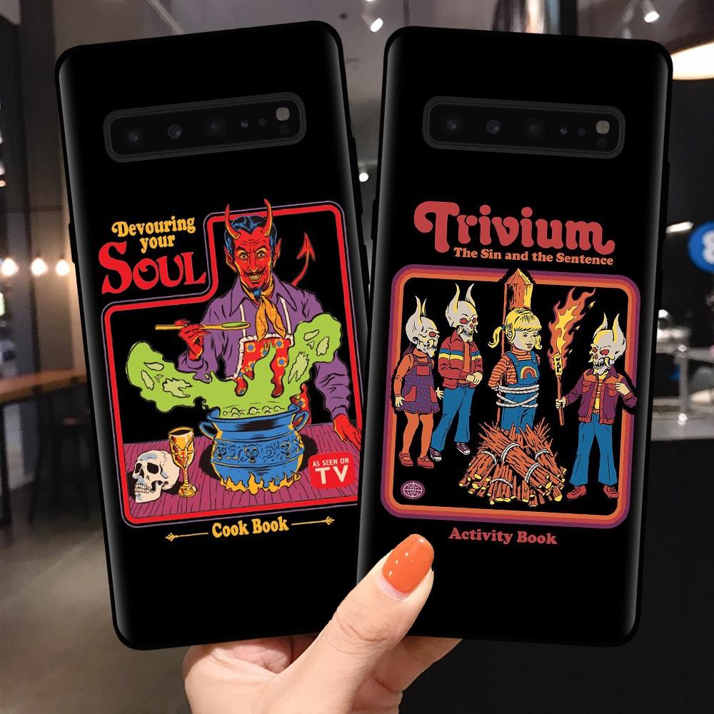 Capa de telefone para samsung s8 s9 s10 s11 plus lite s10e s11e engraçado halloween satã vintage vamos invocar demônios macio tpu capa escudo