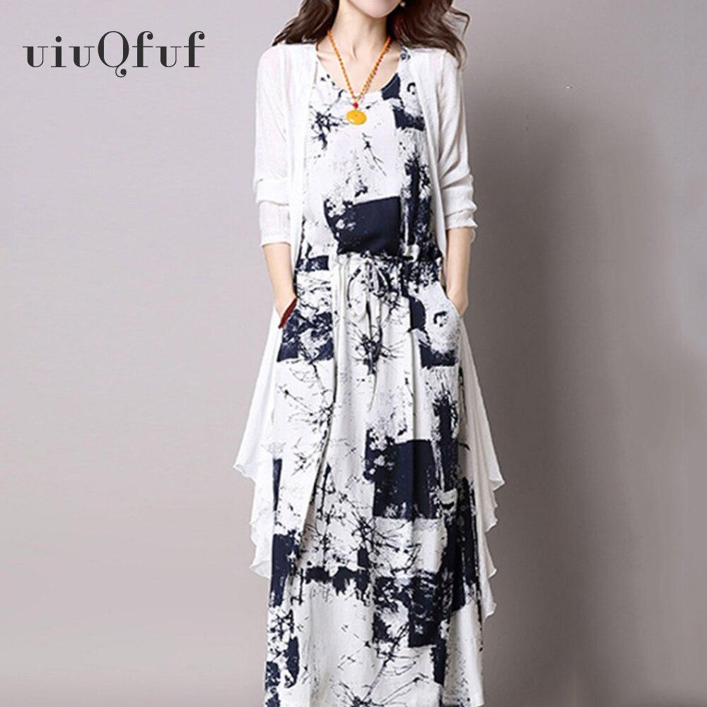 Women's Vintage Maxi Dress 2 PCs Set Ink Printing Ethnic Style Casual Midi Dress Cotton Linen Elegant Belt High Waist Vestidos