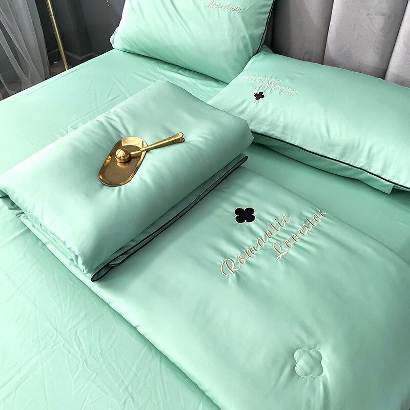 4 قطعة مجموعة تصميم جديد الحرير السرير البياضات تكييف لحاف الصيف المعزي الصيف الصلبة الفراش غسلها القطن البطانيات