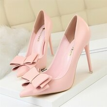 Printemps talon chaussures rose talons femme bleu doux Bow femmes blanc talons hauts mat cuir escarpins talon mince pointu dames 34