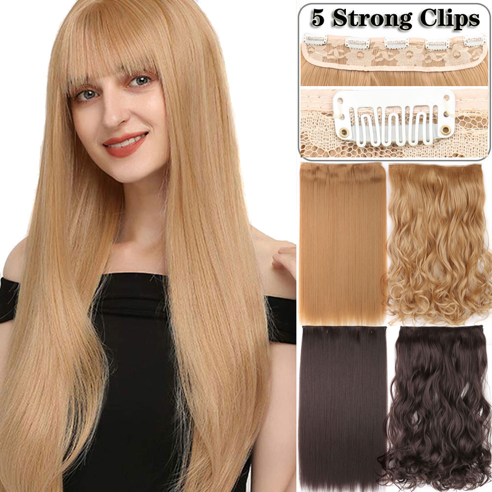 Long Straight Wavy 5 Clips Hair Extensions Synthetic Clip On Hair Extensions High Tempreture Fake Hair Hairpiece For Women