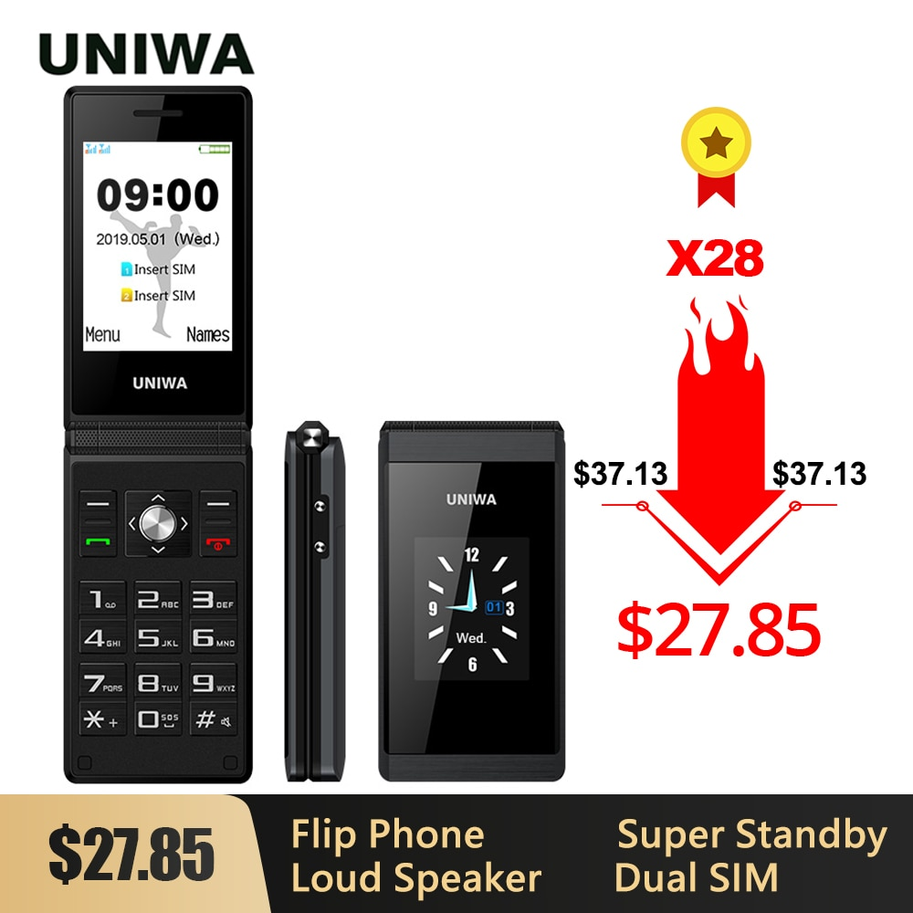 UNIWA X28 Big Push-Button Phone Senior Flip Mobile Phone GSM  Dual Sim FM Radio Russian Hebrew Keyboard Clamshell Cellphone