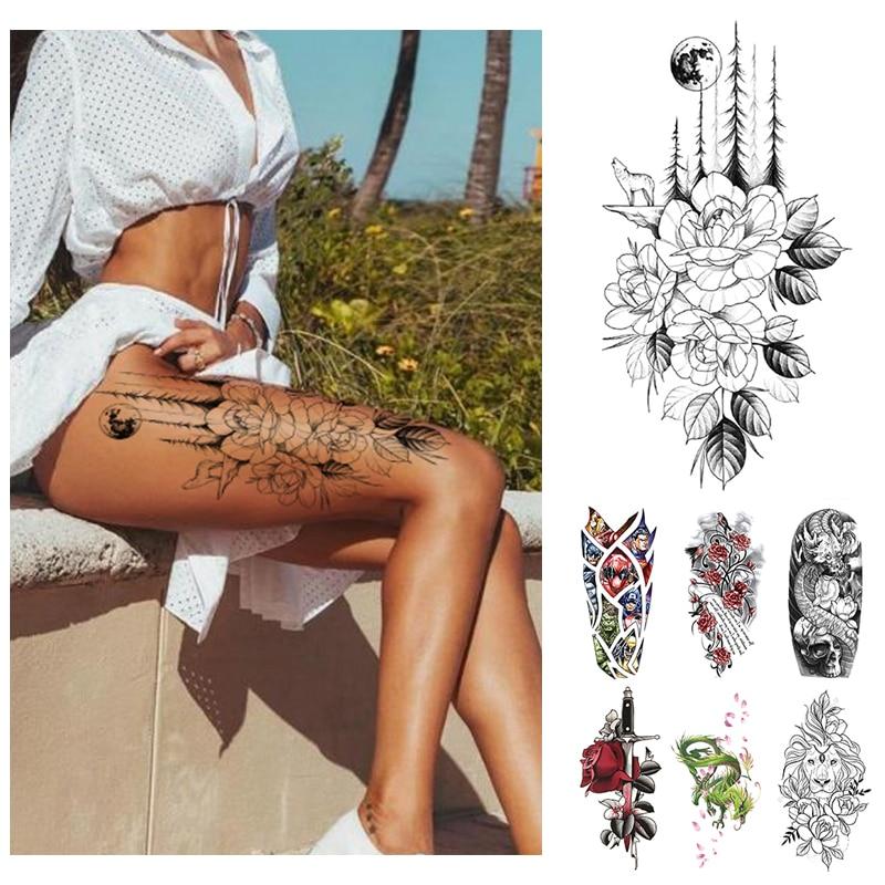 Waterproof Temporary Tattoo Sticker Flower Rose Flash Tattoos Lalash Tattoos Snake Lion Body Art Arm Fake Sleeve Tatoo Women