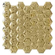 Golden color snowflake design stainless steel metal mosaic tiles wall backsplash self-adhensive metal mosaic