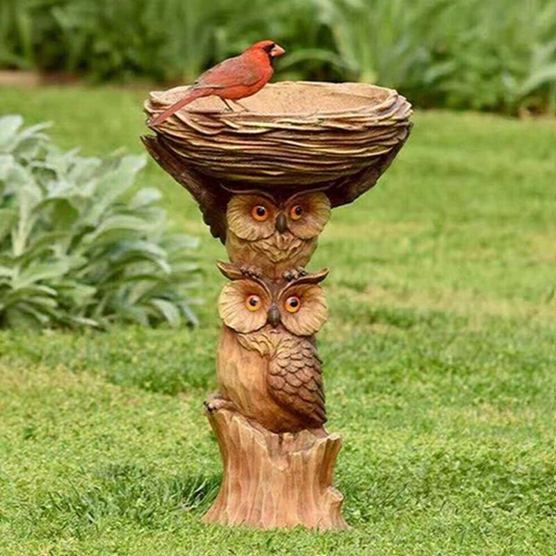 البومة الراتنج الحلي البستنة الطيور مياه الشرب لطيف البوم الحيوان تمثال راتنج الحرفية المنزل الجنية حديقة زخرفة الديكور