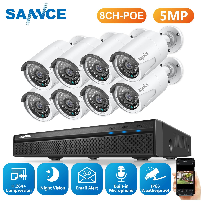 SANNCE 5MP POE كاميرات مراقبة الفيديو نظام 8CH H.264 + 5MP NVR مسجل 5MP كاميرات أمنية تسجيل الصوت POE كاميرات اي بي