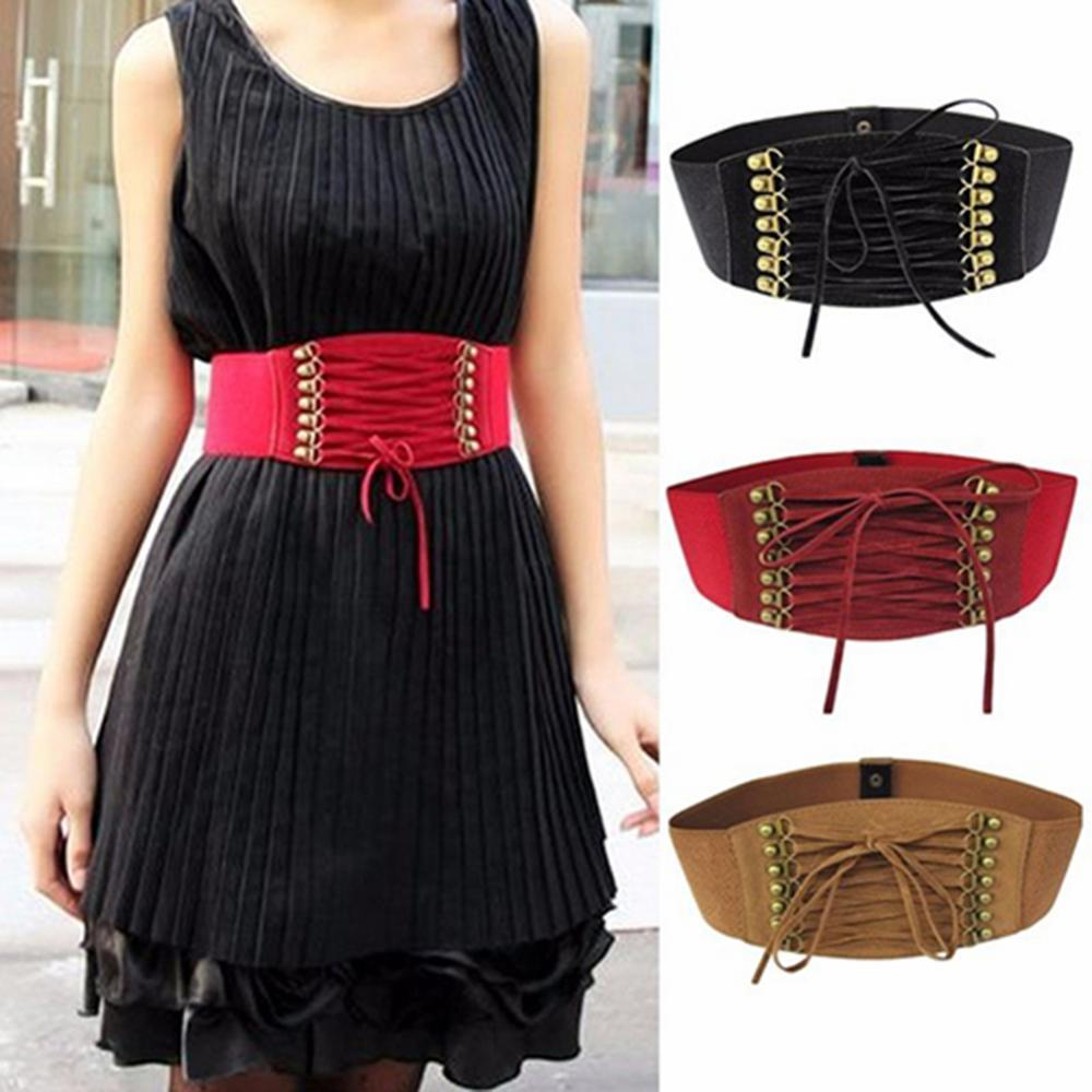 80% HOT SALE Women Fashion Wide Elastic Stretch Belt Tassel Lace Up Corset Waist Waistband Cummerbunds Clothing Accessories lace up waist training corset