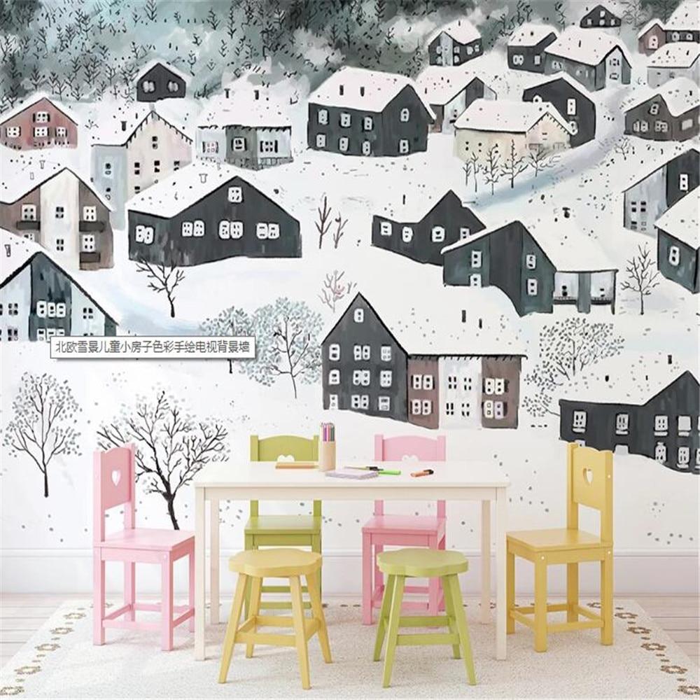 Milofi manufacturers custom wallpaper mural 3d nordic snow scene childrens small house background