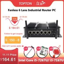 Industriel Sans Ventilateur Mini PC Intel Core i5 8265U i3 6157U 6 Lan Routeur Firewall Pfsense Serveur 2 * RS232 4 * USB3.0 HDMI 4G/3G AES-NI
