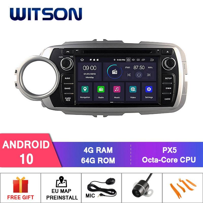 Witson Android 10.0 Ips Hd Scherm Voor Toyota Yaris 2012 Gps Auto Dvd Radio 4Gb Ram + 64Gb flash 8 Octa Core + Dvr/Wifi + Dsp + Dab + Obd