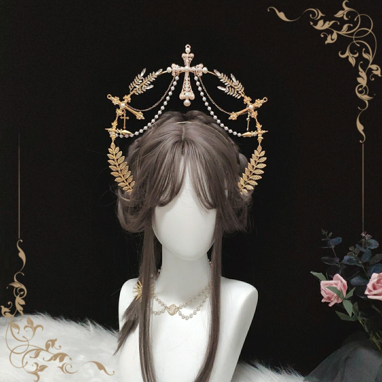 Acessórios de Cabelo Lolita Lolit Grande Coroa Virgem Headdress Halo Tuinga Original Artesanal Dourada