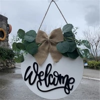 Bonjour  decoration de porte suspendue de Style Pastoral  accessoires de decoration de maison  signe de bienvenue rond en bois