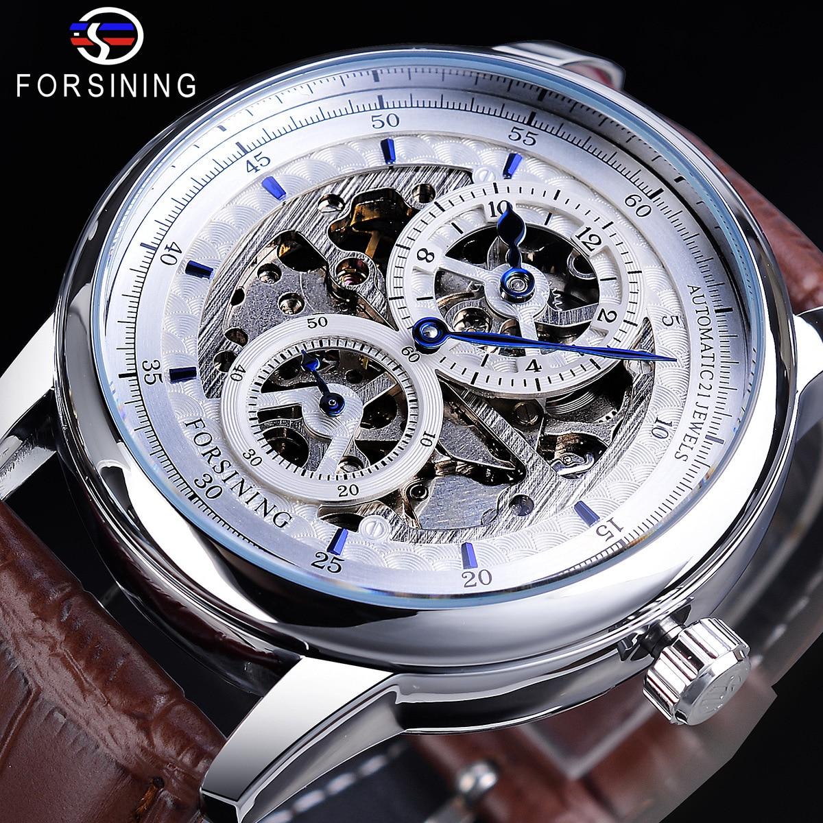 Europeia e Americana Moda Masculina Três Pinos Separação Movimento Dial Relógio Mecânico Automático Forsining366 Oco