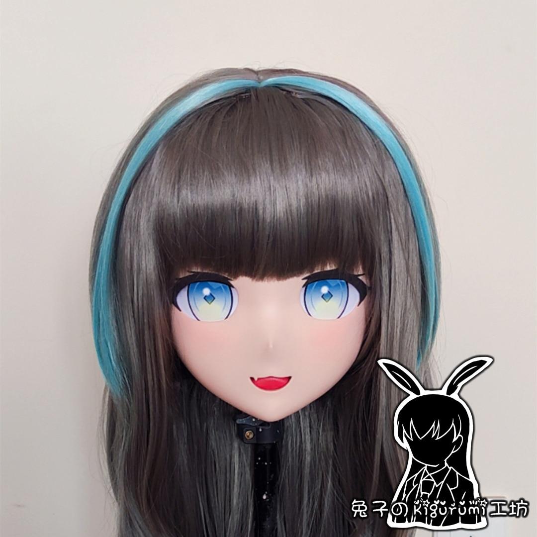 (RB0711) قناع كيجورومي كامل الرأس مصنوع من الراتنج ومخصص للرسوم المتحركة شخصية يابانية للعب الأدوار الانيمي مع غطاء خلفي
