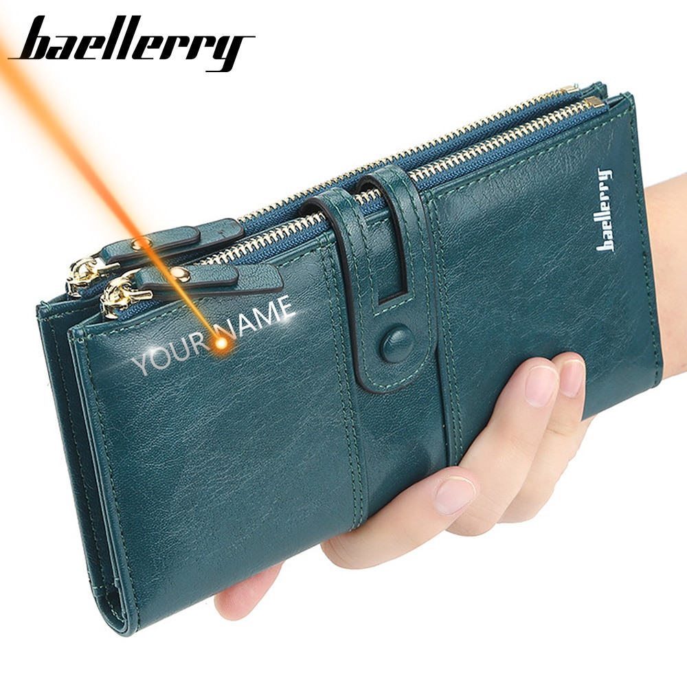 2020 Name Engrave Women Wallets Fashion Long Leather Top Quality Card Holder Classic Female Purse Zi