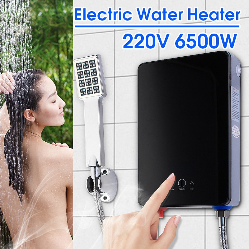 6500W 220V Electric Hot Tankless Water Heater Bathroom Kitchen Instant Water Heater Temperature display Heating Shower Universal