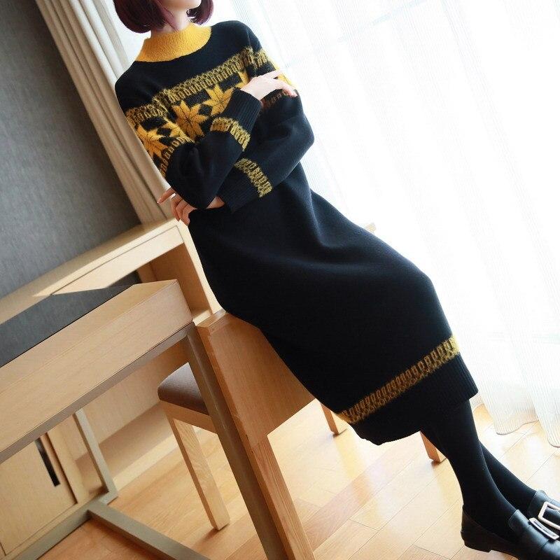 Vestido Harajuku con estampado de hoja de arce cálido de manga larga para mujer, Vestido de punto Midi, vestido de mujer Negro Azul Rojo Kawaii, vestido de primavera