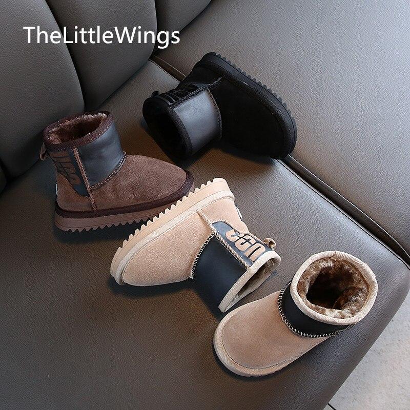 Botas de nieve para niña 2020, nuevas botas cálidas de cuero genuino, botas de ante Edición coreana para niños, botas para estudiantes de 4 a 15 años