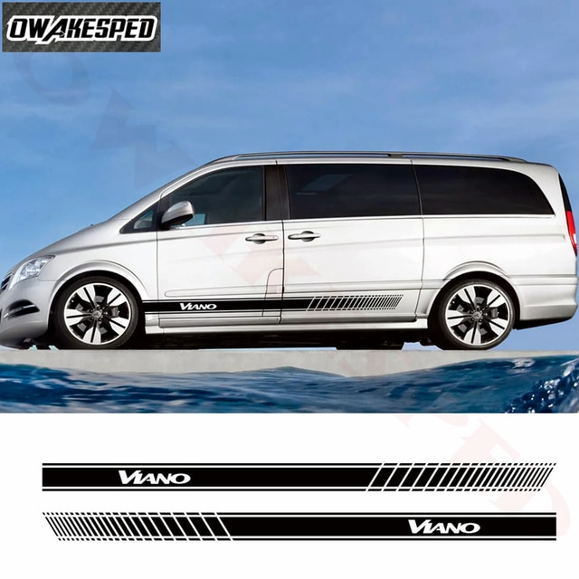 2pcs Car Side Stripes Vinyl Decal For-Mercedes Benz Viano Auto Body Door Decor Stickers Exterior Accessories