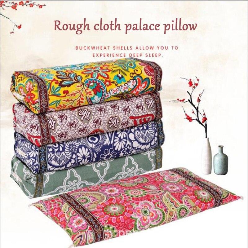Almohada de doble uso de Palacio, almohada de tela viejo, grueso, almohada de algodón de concha de alforfón, almohada ajustable para cuello, textil para el hogar