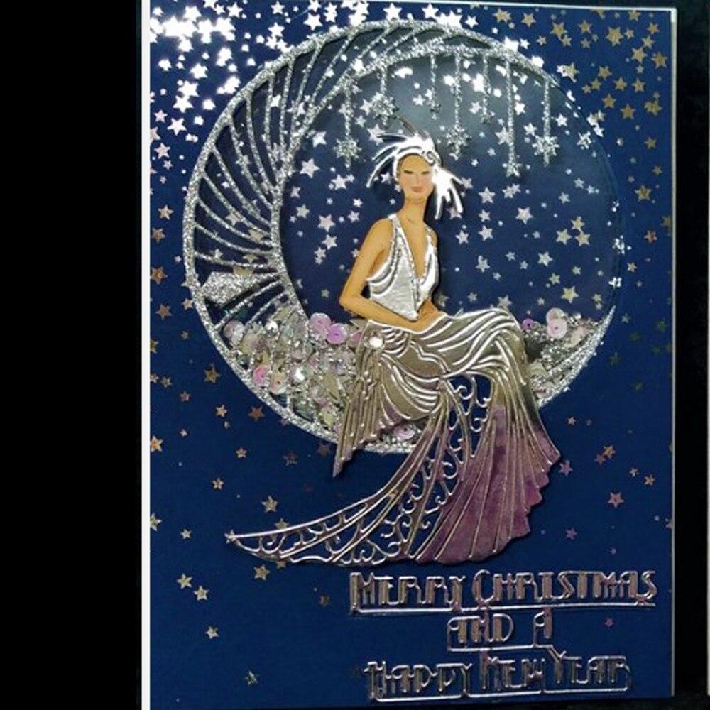 Счастливого Рождества Луна Звезда богиня счастливого Нового года счастливого металла Форма DIY альбом для скрапбукинга рукоделия формы.
