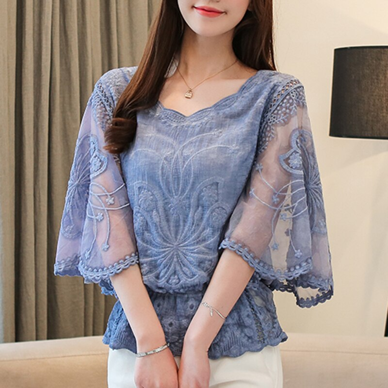 Fashion Plus Size Blouses Woman New Summer Butterfly Sleeve Lace Chiffon Blouse Women Casual Floral White Shirt Tops