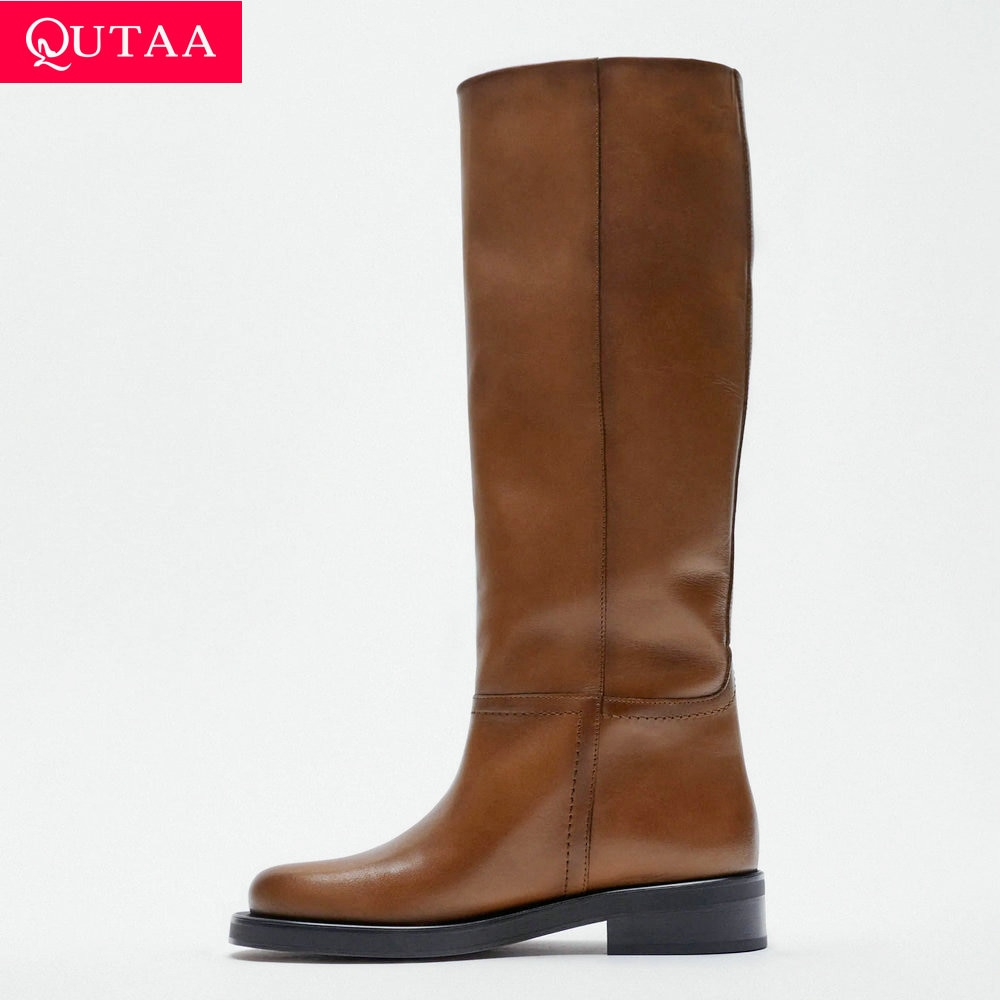 QUTAA 2022 ZA النساء حذاء برقبة للركبة جلد البقر الكامل ميد الكعوب امرأة INS مكتب سيدة دراجة نارية أحذية طويلة الشتاء أحذية Za 34-40
