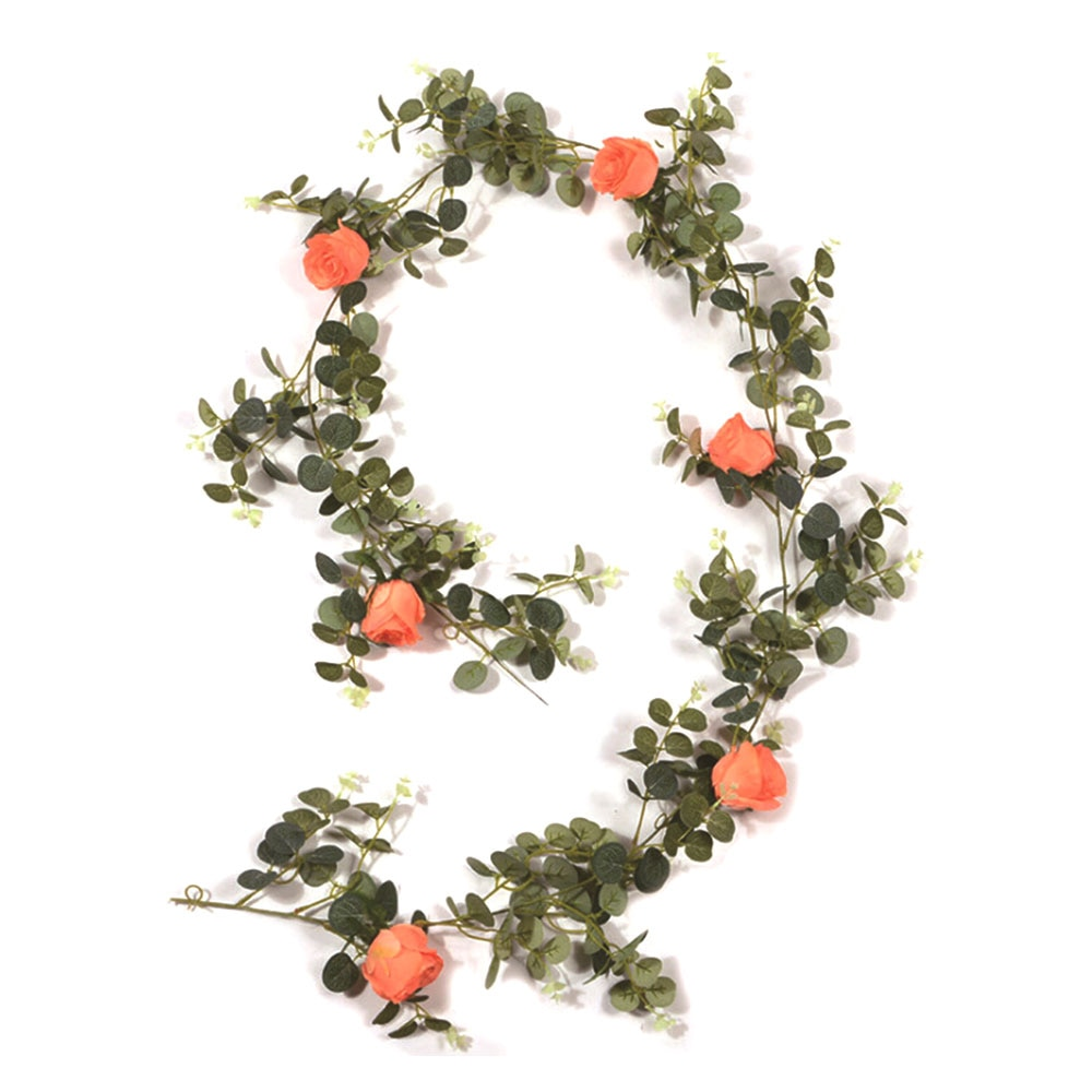 Guirnalda de eucalipto de seda Rosa Artificial, guirnalda de hojas de eucalipto para decoración para fiesta de boda, decoración para colgar en la pared del hogar