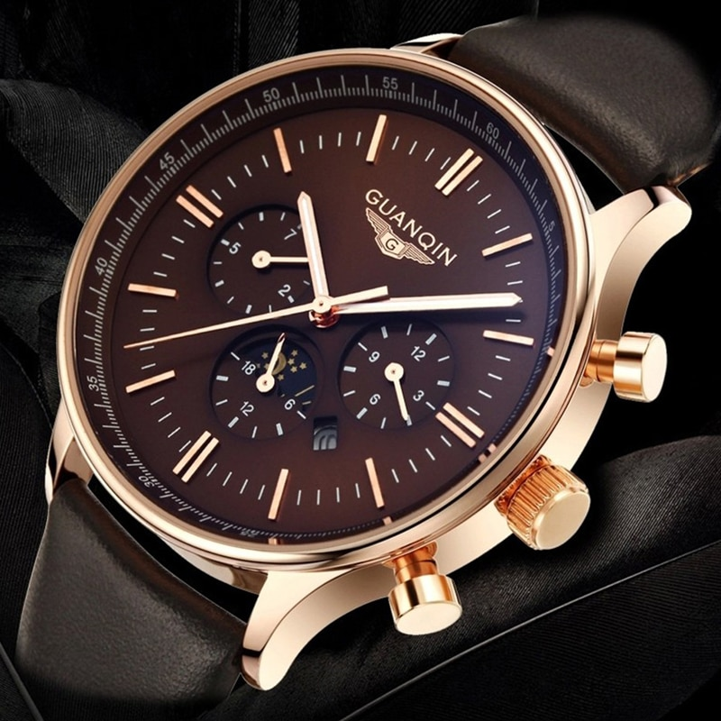 2020 Guanqin GQ12003 موضة ساعة رجالي العلامة التجارية الفاخرة ساعة كوارتز ساعة رجالية مقاوم للماء ساعة رياضية ريليجيو مارمانو