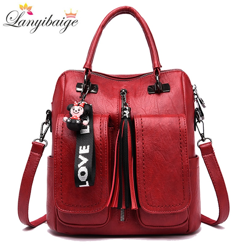 3-in-1 Women Backpacks Vintage Female Shoulder Bags Soft Leather Backpack Ladies Travel Back Pack Lu
