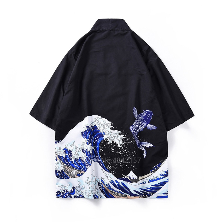 Estilo japonês guerreiro quimono haori para adulto mulher homem tradicional ukiyo-e moda unissex cardigan koi padrão praia yukuta