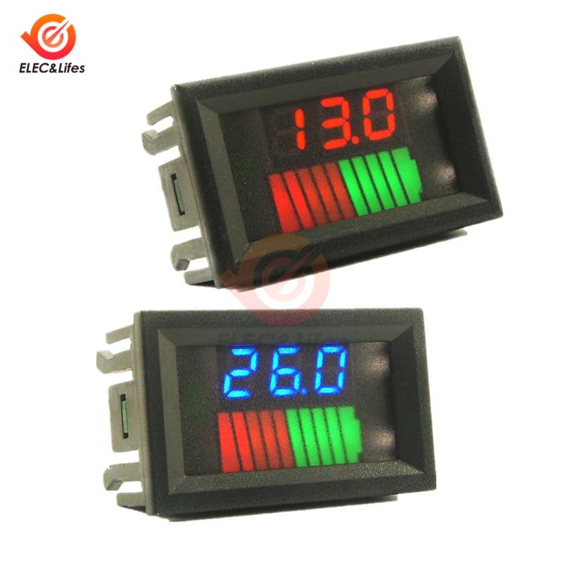 12V 24V Car Lead Acid Battery Charge Level Indicator 10 Segments Lithium Battery Capacity Tester Meter Dual LED Voltmeter Kits
