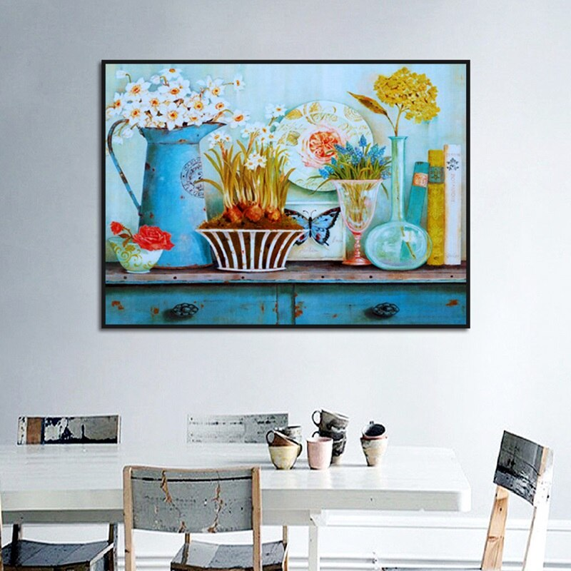 Carteles y impresiones de estilo europeo florero pintura en lienzo decoración moderna para el hogar cuadros de pared para sala de estar sin marco