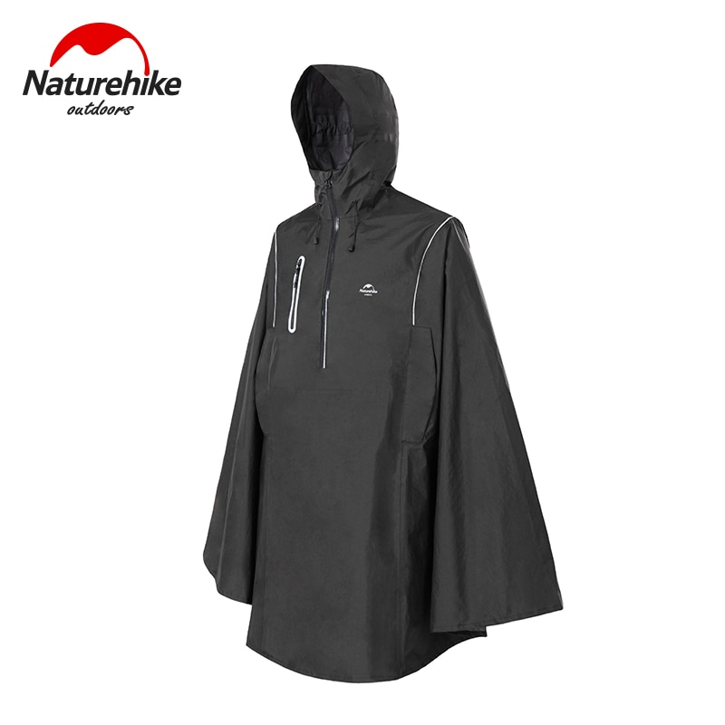 Naturehike Black Fashion Adult Waterproof Long Poncho Multifunctional  Hooded For Outdoor Hiking Travel Raincoat   NH21FS038