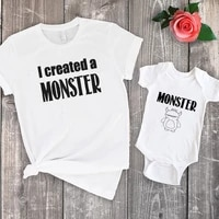 a monster shirts matching family shirt set 2021 mommy and me matching clothes baby funny kids outfits 3m
