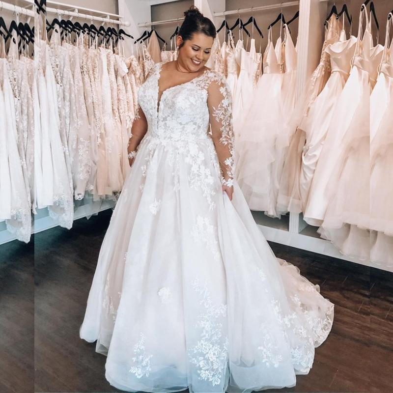 Promo Boho Plus Size Wedding Dresses Illusion Long Sleeve Appliques Lace Tulle A Line Bohemian Bridal Gowns robe de marie Customized