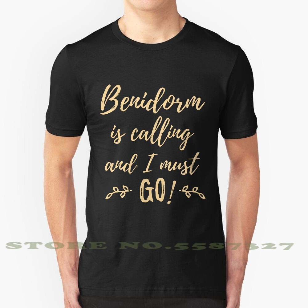 Benidorm Calling Black White Tshirt For Men Women Benidorm Typography Spain Travel Beach Coast Blanca Holiday Vacation Alicante