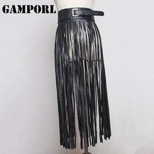 GAMPORL Women Sexy Leather Harness Body Bondage Long Tassel Dress PU Leather Dress Bondage Waistband
