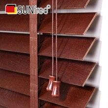 Sunfree basswood persianas de madeira escada fita styel madeira real veneziano persianas 50mm slat marrom/branco/marrom/preto