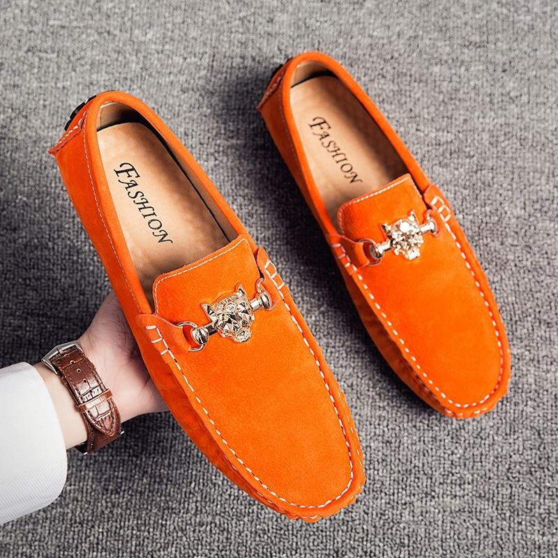 Big size Penny mokasyny męskie dorywczo mody zamszowe męskie mokasyny męskie mokasyny Slip On męskie mieszkania męskie buty do jazdy samochodem pomarańczowy